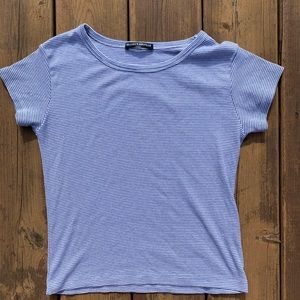 Brandy Melville blue and white waffle top